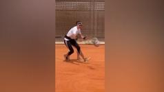 Garbiñe ya entrena en Madrid para preparar el Mutua Madrid Open