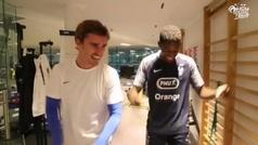 Dembélé recupera la sonrisa con Griezmann: baile 'juguetón' en el gimnasio