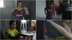Los jugadores del Barça reaccionan al ver por primera vez la nueva camiseta