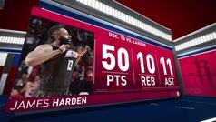 Harden se come la historia con su cuarto triple-doble con 50 puntos