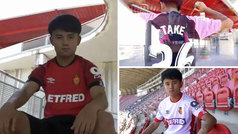 Kubo ya posa con las tres camiseta del Mallorca y luce 'Take 26' en la espalda
