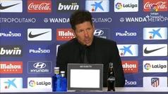 """Simeone: """"Conociendo a Giménez, tengo muchas sensaciones positivas de que va a estar para el sábado"""""""