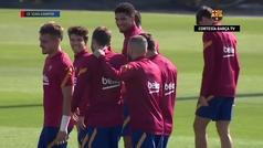 La sonrisa de Messi antes de viajar a Balaídos