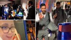 Los jugadores del Barça saludaron virtualmente desde Lyon a un niño en el hospital Val d'Hebron