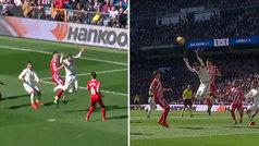 Ramos reclamó un penalti por empujón en el salto de Juanpe