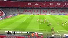 Calentamiento de Bayern y Atlético