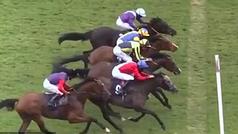 Increíble final de foto finish: cuatro caballos cruzan la línea de meta al mismo tiempo