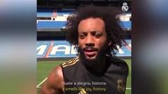 """Marcelo: """"El Bernabéu huele a alegría y a historia"""""""