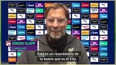"""Klopp: """"Esto es un recordatorio de lo bueno que es el City"""""""