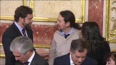 Un corrillo entre Iglesias, Espinosa de los Monteros y Arrimadas, anécdota del Día de la Constitució
