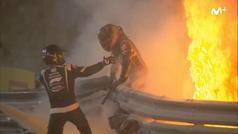 Las escalofriantes imágenes del aparatoso accidente de Grosjean: ¡tuvo que huir del fuego!