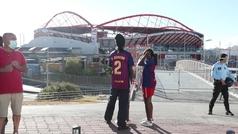 Llegada al campo de Barcelona y Bayern de Múnich