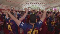 La final de Copa ya juega en la fan zone del Barcelona: los aficionados quieren el Doblete