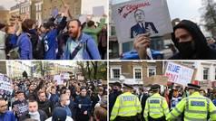 """Manifestación de aficionados del Chelsea en Stamford Bridge: """"¡Fuck Superleague!"""""""