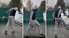 Las virguerías de Federer bajo la nieve: así se entrena en el frontón de su casa