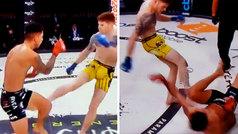 No se ve un K.O. así todos los días en MMA: le bajó al piso... ¡a patadas!