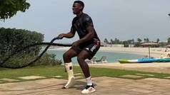 Pogba sufre de lo lindo entrenándose a tope a pesar de tener la pierna lesionada