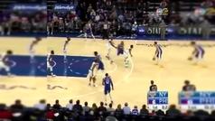 ¡Por fin! Ben Simmons anota su primer triple en la NBA