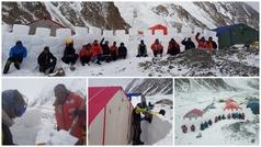 Alex Txikon construye un muro para hacer frente a vientos de 90 km/h en el K2