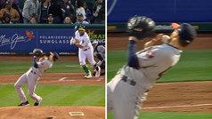 La alucinante esquiva 'a lo Matrix' que arrasa en la MLB: ¡un centímetro más y le parte la mandíbula!