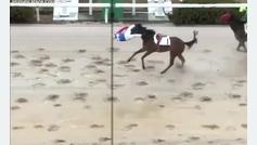 ¡Un jockey de 62 años entra en la meta volando tras salir despedido de su caballo!