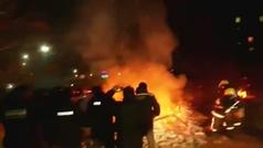 Protestas en Ucrania ante la llegada de 72 personas evacuadas de Wuhan