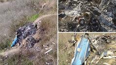 Un dron del Gobierno muestra unas impactantes imágenes del lugar del accidente de helicóptero de Kob