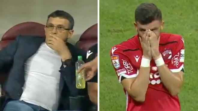 Técnico del Dinamo Bucarest sufre un infarto en pleno partido — Terrible