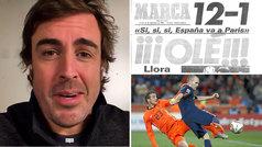 Fernando Alonso recuerda su pasado de portero, el 12-1 a Malta... y el gol de Iniesta en Ferrari