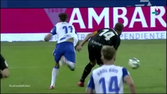 La polémica: Puado es derribado por Pulido antes del gol del Huesca