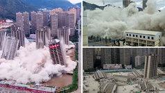 Espectacular demolición sincronizada de 15 edificios en China