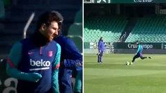 Messi se prueba con disparos a puerta a pocas horas de la Supercopa
