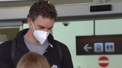 Pau Gasol llega al aeropuerto del Prat