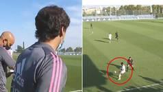 Los gritos de Raúl durante el partido del Castilla: ¡pelos de punta escuchar cómo organiza a sus pup