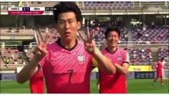 Son marca con Corea y dedica su gol a Eriksen