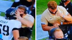 Se olvida de que lleva puesto el casco y pega un cabezazo a su entrenador: lucha por no desmayarse