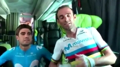 Quintana, Landa y Valverde desmienten mala relación a través de las redes sociales del Movistar Team