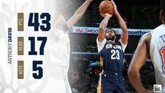 Anthony Davis (43+17) presenta su candidatura al MVP de la NBA