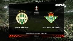 Europa League (J2): resumen y goles del Ferencvaros 1-3 Betis