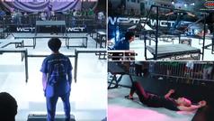 La espectacular acción de 'spiderman' en el campeonato mundial de pilla pilla