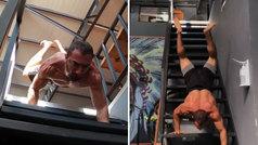 Desafía a la gravedad bajando escaleras haciendo el pino... ¡y acaba con 5 flexiones imposibles!