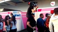 Camarógrafo hace acrobacias por grabar al Checo Pérez