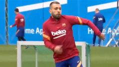 Jordi Alba se entrena con el grupo y podría jugar ante el Real Madrid