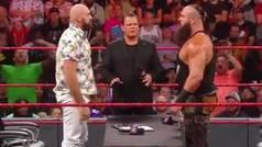 La bronca entre Tyson Fury y Braun Strowman que acaba con una mesa reventada