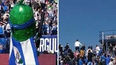 La mascota del Leganés repartió camisetas... ¡pero cayeron fuera del estadio!