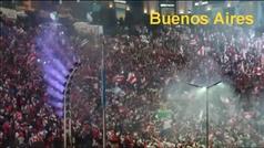 Celebración de los aficionados de River en Buenos Aires y en Madrid