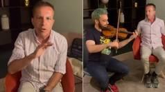 La reacción de Cristóbal Soria mientras escuchaba el himno del Sevilla... ¡con un violín!