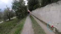 Nibali prueba los frenos de disco en un espectacular descenso