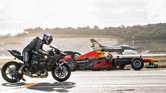 Espectacular carrera entre un Fórmula 1, una Kawasaki Ninja y un F16: ¡el sonido es alucinante!