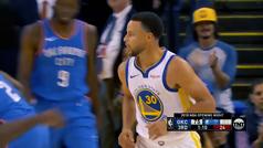 Curry empieza a lo grande; canasta desde el vestuario y MVP